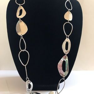 Chico's long hanging silver necklace